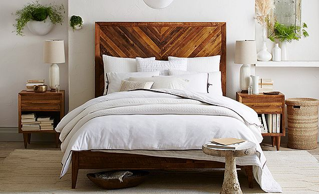 West Elm Back-To-Nature Bedroom | Love the bed and plant containers