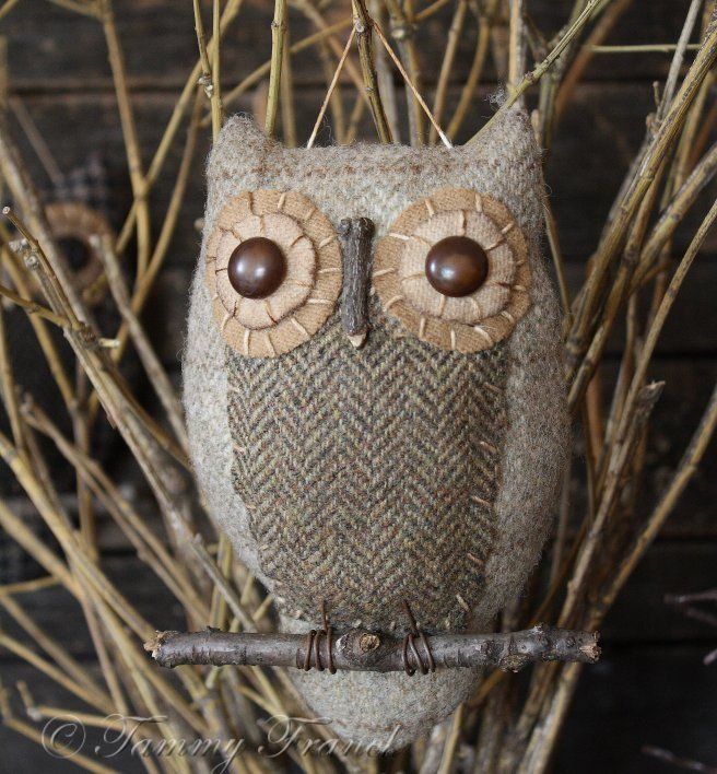 diy primitive owl - pattern - would be cute in Christmas tree