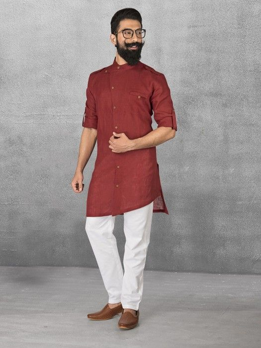 Maroon Linen Simple Kurta Suit mens kurta suits, mens kurta designs, mens kurta pyjama, mens linen kurta, mens kurta designs, mens indian fashion,