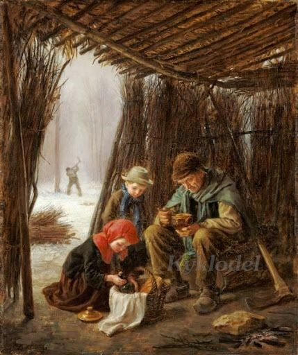 Pierre-Edouard Frere (French, 1819-1886) «The Woodcutter's Meal»