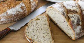 Recette de Pain rassasiant à la farine complète au levain. Facile et rapide à réaliser, goûteuse et diététique. Ingrédients, préparation et recettes associées.