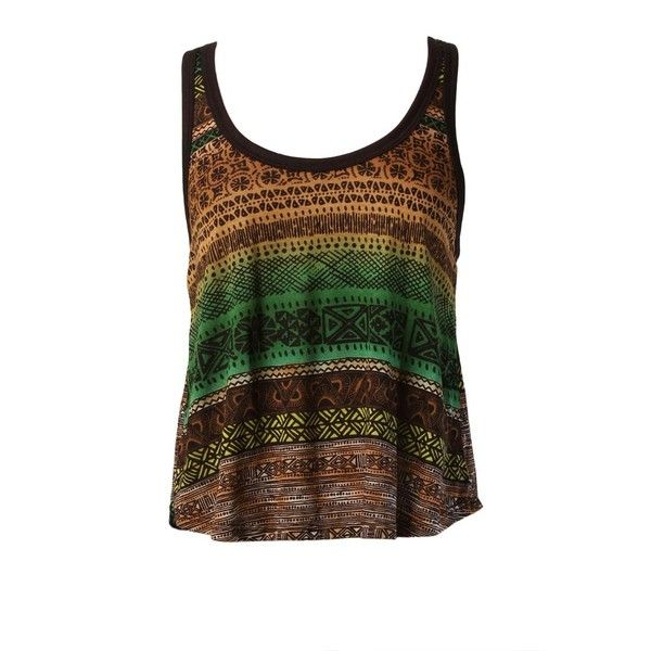 Tribal Print Cropped Tank ($15) ❤ liked on Polyvore featuring tops, shirts, tank tops, tanks, crop shirts, tribal shirt, tribal print tank, brown crop top and tribal pattern shirts