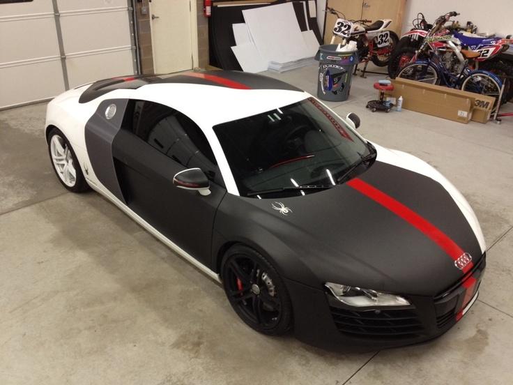 Partial wrap, matte black, with underlays of carbon fiber vinyl to give…