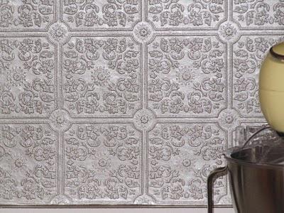 1000 images about tin tile backsplash on pinterest for Textured wallpaper for kitchen backsplash