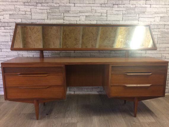 Retro White And Newton Dressing Table With Mirror Vintage 1960s