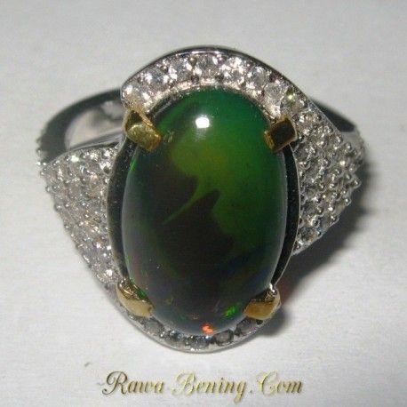 Cincin Wanita Elegant Black Opal 6US