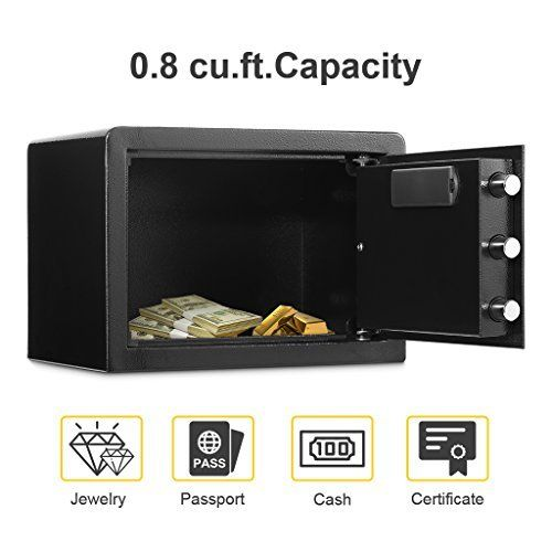 Electronic Digital Security Safe Box, Solid Steel Construction Hidden with Deadbolt Lock Wall-Anchoring Design For Home Office Hotel Business Jewelry Gun Cash Medication (0.8 Cubic Feet).