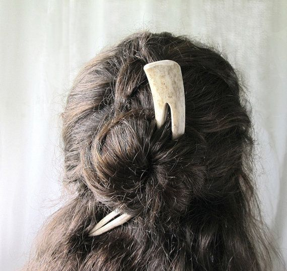 This one with the flexi prong hair fork stick deer horn