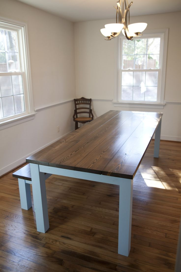 150 best emmor kitchen and dining images on pinterest farmhouse farmhouse table 8 feet long with sonic sky legs and dark walnut top kitchen table and dining table ideas