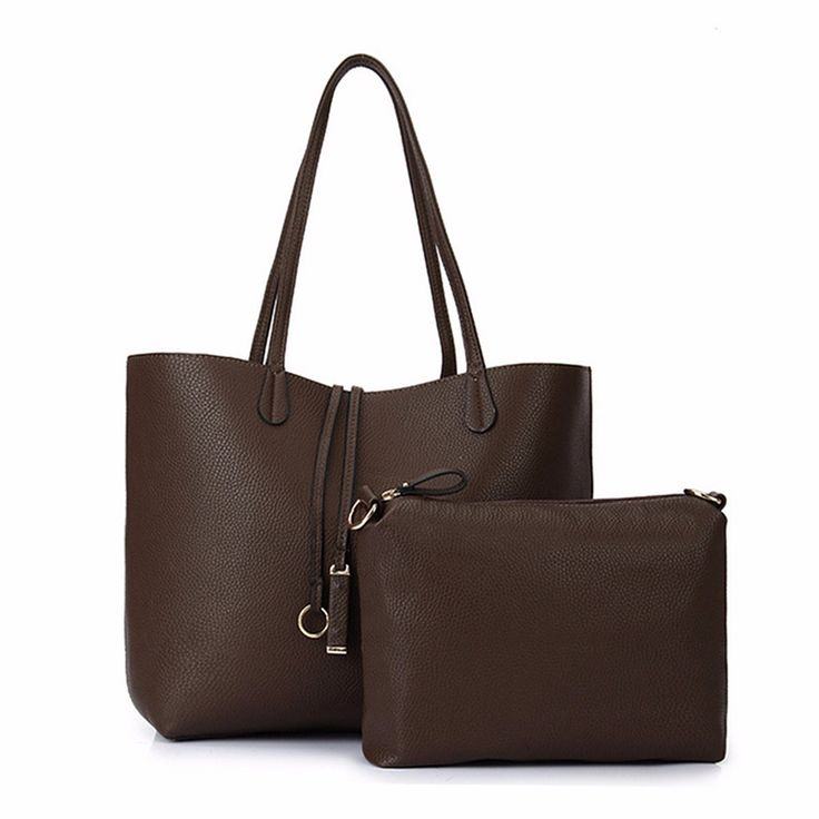 2015 Newest Fashion 2 pcs/Set Women PU Leather Handbag Solid Color Shoulder Bag Clutch Wallet Purse Zipper Large Capacity-in Shoulder Bags from Luggage & Bags on Aliexpress.com | Alibaba Group