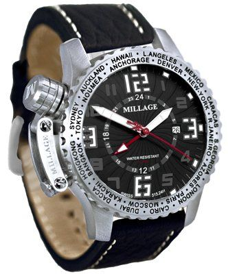 10 ATM / 100 M/ 330 ft Water Resistant      Screw Crown, Genuine Bufallo Leather Strap,      GMT Time, Swiss      Sapphire Crystal