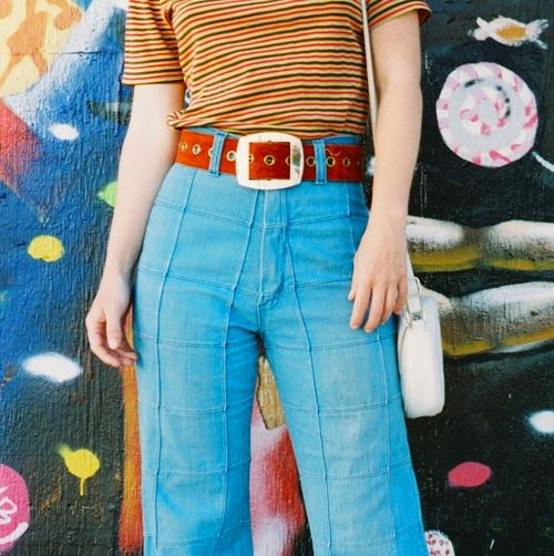 PATCHWORK PAULA 1970s Vintage Bellbottoms