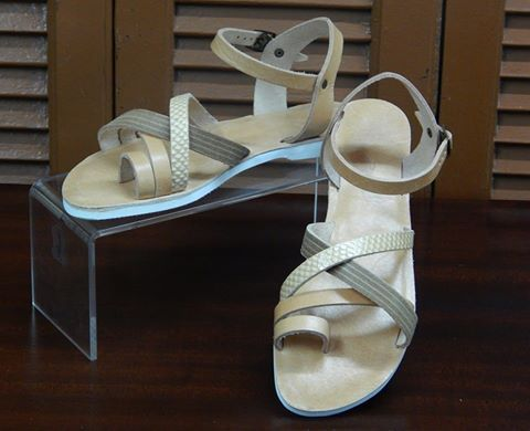 Handmade leather sandal IPHIGENIA  .... natural with details tsetina & snake printed letaher ....