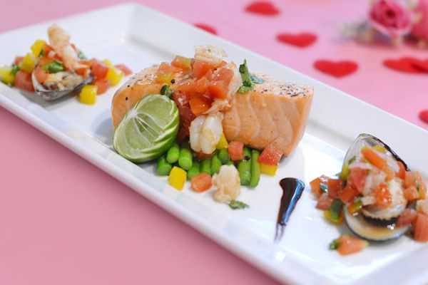 Valentine's Day Promotion - Seared seabass fillet, saute' mussel, asparagus and shrimp salsad