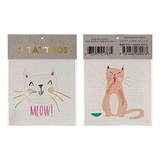 Temporary Cat Tattoos - Set of 2 Multicoloured