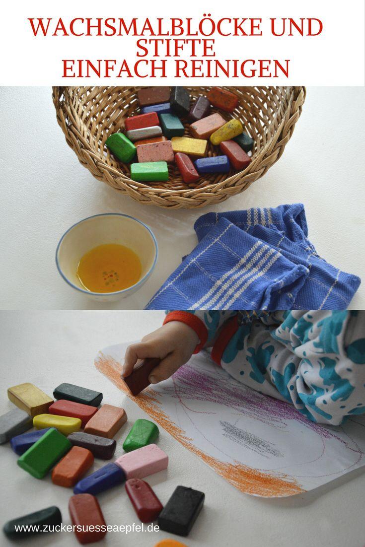 Mit einem einfachen Trick Wachsmalblöcke und Stifte reinigen und wieder klare Farben bekommen./ Use a simple trick to clean wax blocks and pens and get clear colors again.