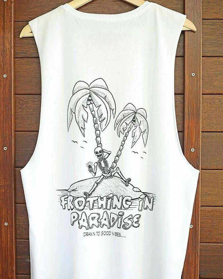 Beach fashion  Frothing in Paradise skeleton  #drawntogoodvibes #drawndownunder #surfart #surfshop