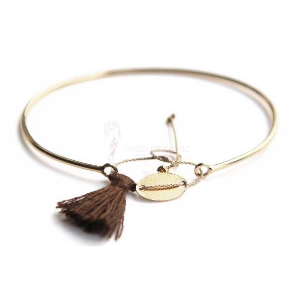 Paloma Stella Bracelet Jonc en plaqué Or avec lien à perles, médaille et pompon Brun
