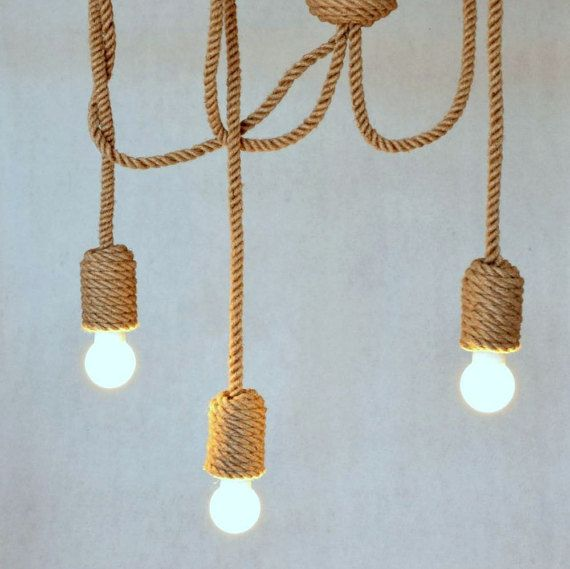 "Jute lange kroonluchter, hanger licht, gemaakt van zeilen touw, 200cm (~ 80""), 3 lampen, nautische, opknoping licht, strandhuis, loft, marine"