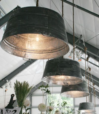 Galvanized tubs for light fixtures! L<3VE!