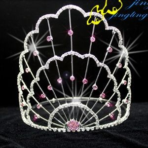 beauty pageant crowns large | ... national pink rhinestone pageant crown for sale in 5-8 Pageant Crown