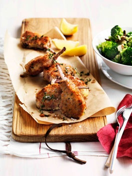 Parmesan-crumbed lamb cutlets with broccoli and anchovies