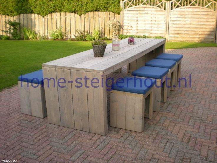 Steigerhout tafel moos als tuintafel steigerhout produkten pinterest tuin decoratie en for Decoratie voor terras
