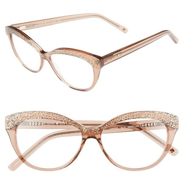 kate spade new york 'zabrina' 52mm reading glasses ($98) ❤ liked on Polyvore featuring accessories, eyewear, eyeglasses, transparent brown glitter, cateye glasses, kate spade eyeglasses, cateye reading glasses, kate spade and retro glasses