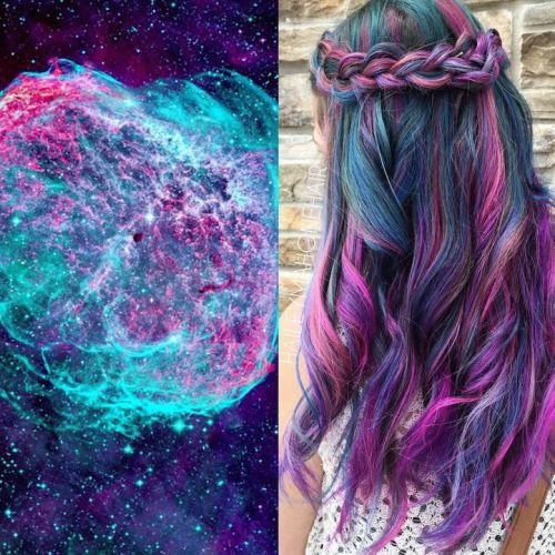 sixpenceee: Galaxy Hair Taking inspiration from the cosmos, people are dyeing their hair to  mimic the vibrant beauty of the vast universe—including nebulas, the  Aurora Borealis (Northern Lights), and many more intergalactic  phenomena. (Source)