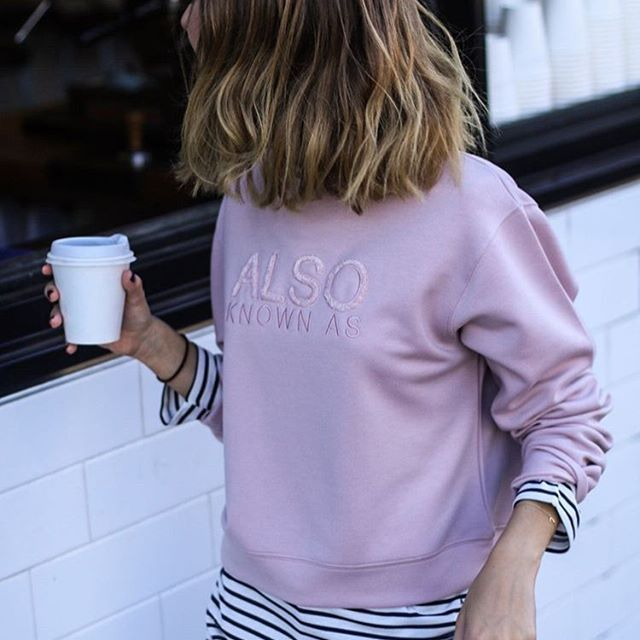 Coffee run ☕️ @jessalizzi wears the Somerset Sweater from @akathelabel 〰️ in store and online now x