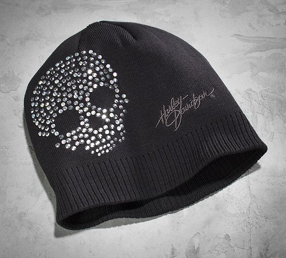 Women's Crystal Skull Knit Hat | Cold Weather | Official Harley-Davidson Online Store