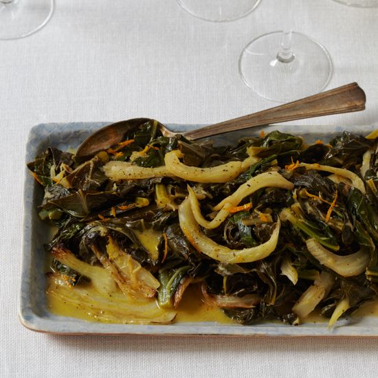 Collard Greens with Fennel and Orange Butter | Thanksgiving Make-Ahead Tip: The cooked collards and fennel can be made ahead and refrigerated for up to 2 days; reheat before serving.