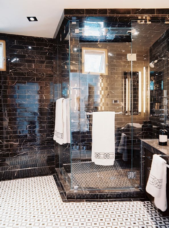 Modern Bathroom Black Marble Tile And A Glass Enclosed Shower Details:  Black Wall Treatment, Black Modern Bathroom Keywords: Jamie Herzlinger Bathroom  Tiles ...