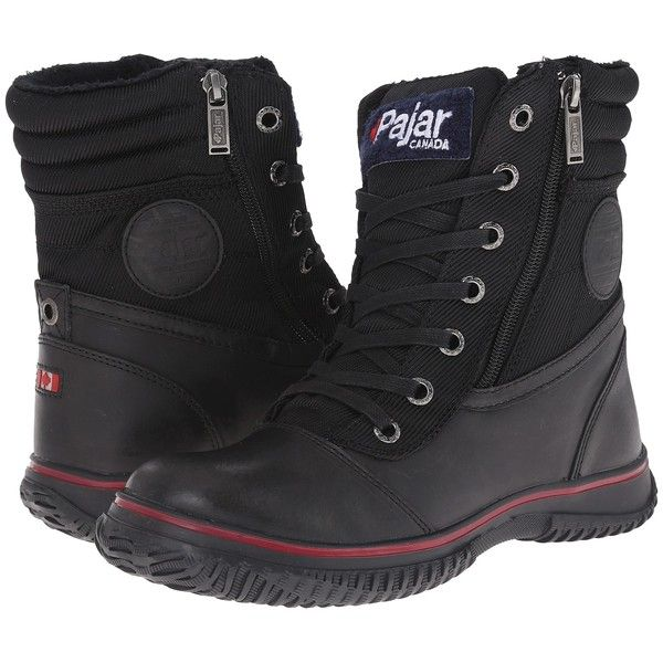 Pajar CANADA Leslie (Black) Women's Hiking Boots ($70) ❤ liked on Polyvore featuring shoes, boots, black, water proof hiking boots, pajar boots, waterproof hiking boots, black leather shoes and waterproof boots