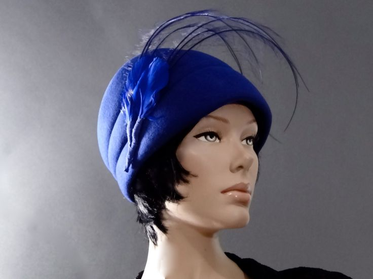 Cobalt Blue Hat Vintage 1970s // Large Feather Cloche // Designer Bellini New York // Womens Accessories by SueEllensFlair on Etsy