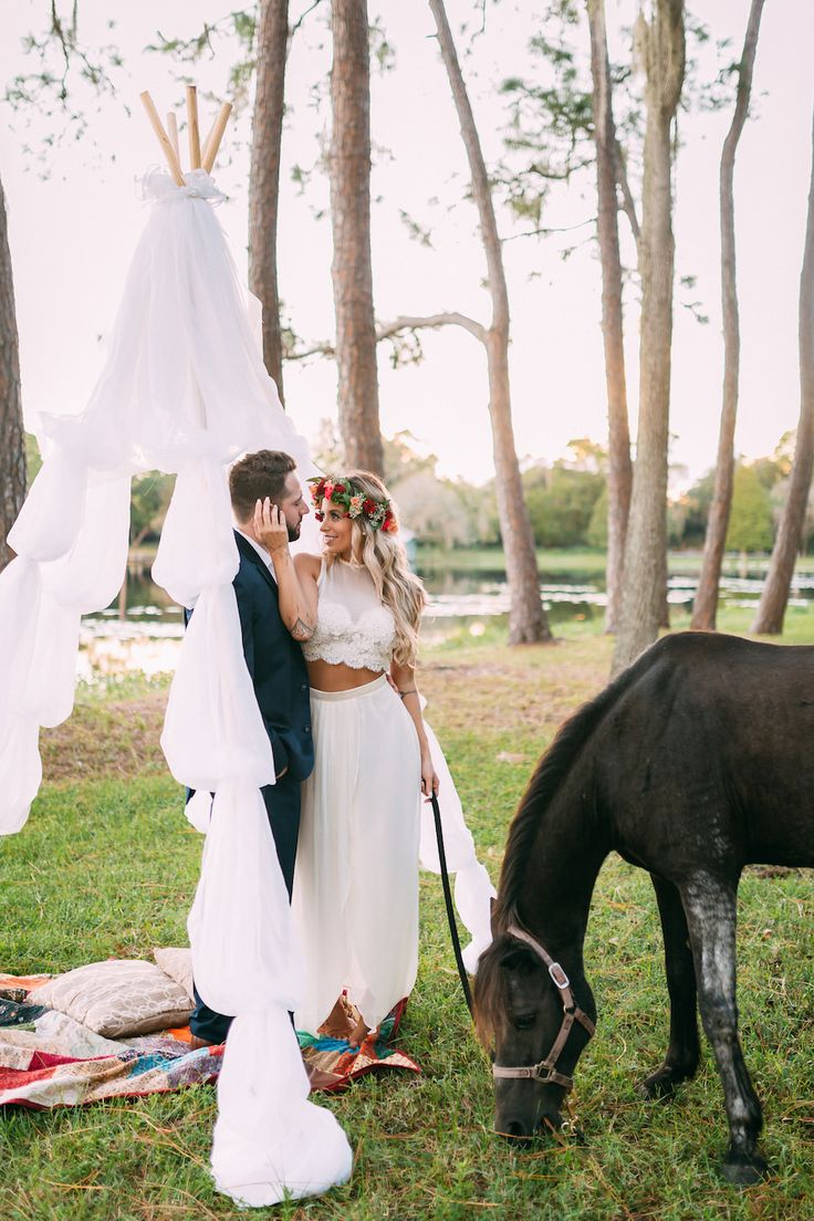 Boho Chic Wedding Portrait With Flower Crown And Horse Rustic Tampa Bay Venue The Barn At Crescent Lake Old McMicky