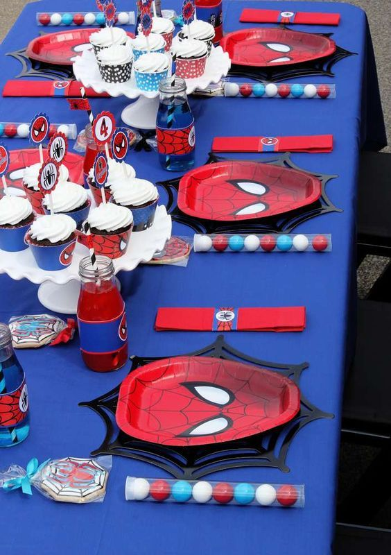Very cool table at a Spiderman birthday party! See more party planning ideas at CatchMyParty.com!