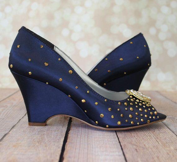 Blue Wedding Shoes Navy Blue Peeptoe Wedge By