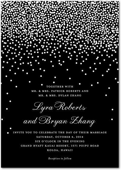 This modern wedding invitation features a classic template, complete with elegant typography.    in grey instead of black