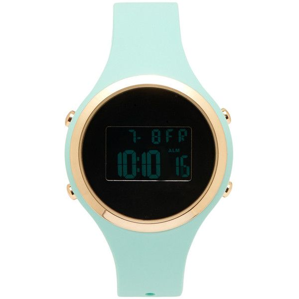 Aeropostale Digital Rubber Watch ($16) ❤ liked on Polyvore featuring jewelry, watches, accessories, mint sprig, aéropostale, leather-strap watches, mint watches, mint green jewelry and polish jewelry