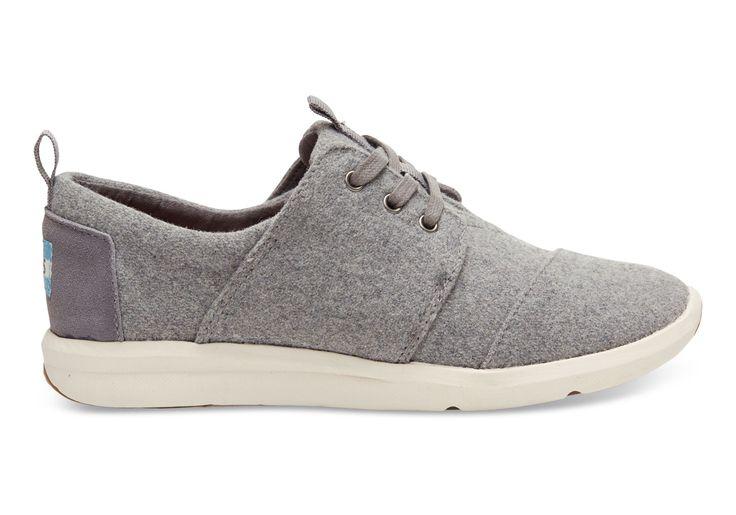 TOMS Grey Felt Suede Women's Del Rey Sneakers