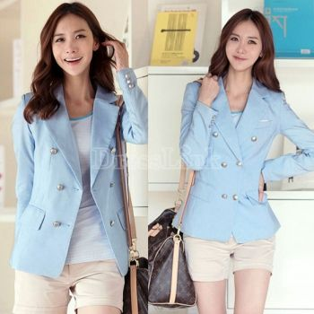 Womens Slim Fit Business Double-breasted Suit Jacket Coat Long Sleeve Outwear