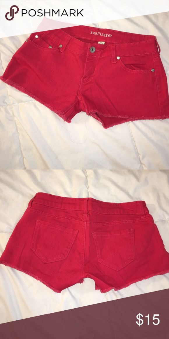 Red Refuge Shorts Fit great! Just a little small on me, size 4. So cute! Never worn. refuge Shorts Jean Shorts