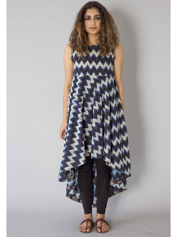Indigo Asymmetrical Cotton Tunic
