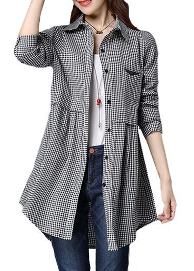 Button Closure Plaid Print Long Sleeve Curved Shirt on sale only US$24.95 now, buy cheap Button Closure Plaid Print Long Sleeve Curved Shirt at lulugal.com