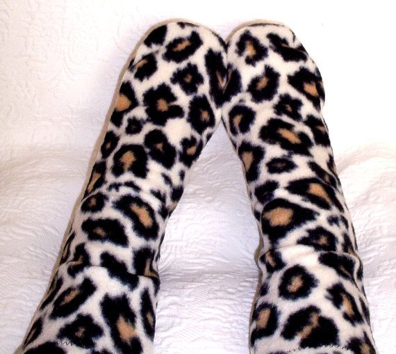 Fleece Socks  Leopard Fleece Socks  by UniqueSewingBoutique  Still cold where you are, here are nice warm cozy socks to make your feet warm and happy
