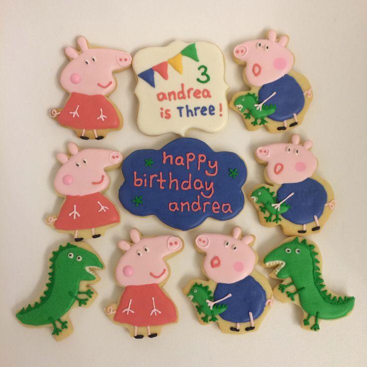 Peppa Pig, George & Dinosaur cookies!