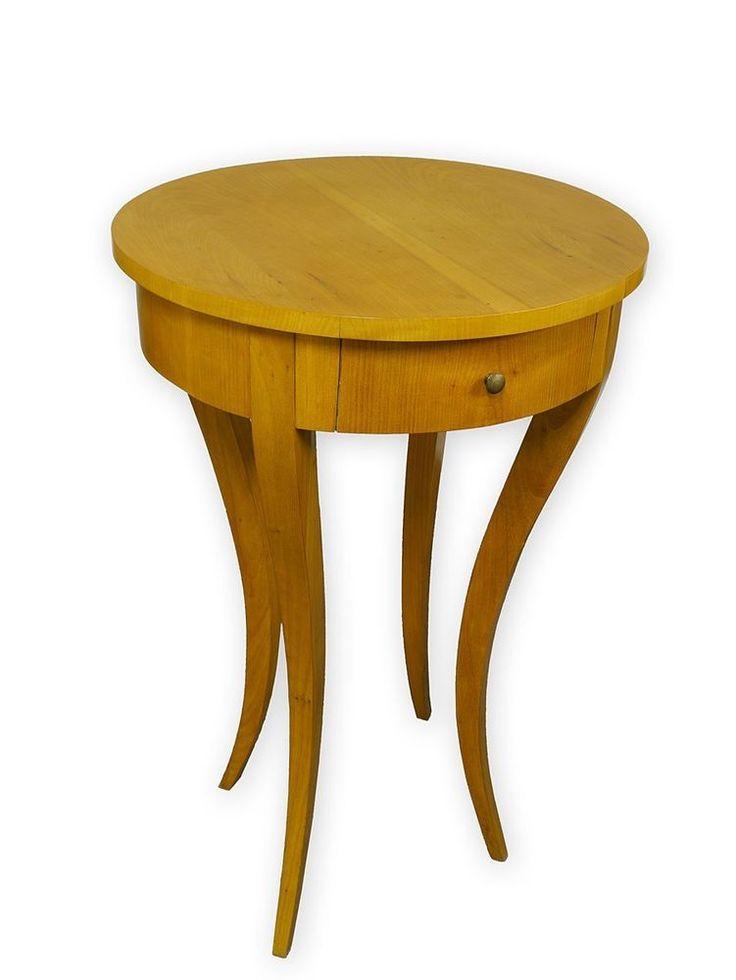 Tisch Beistelltisch Nachttisch rund im Biedermeier Stil Kirschbaum (2892)