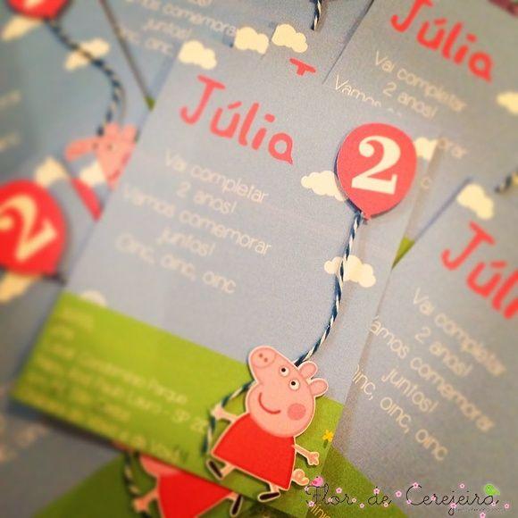 Convite Peppa Pig - Simples 10X14cm