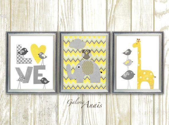 Kindergarten Kunst, grau gelb Chevron Kindergarten Baby Kinderzimmer Dekor Kinderzimmer Wanddekoration Kinder Kunst Vogel Eule Liebe Elefant Giraffe Set von 3 Drucke